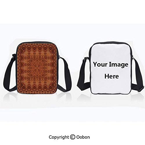 Multipurpose Crossbody Bag For Sports Unisex Teen Vintage Lacy Persian Arabic Pattern from Ottoman Empire Palace Carpet Style Artprint Orange Brown Anti-Theft Travel Hiking Polyester Water Proof Bag