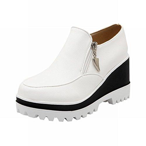 Carolbar Femmes Multi Fermeture À Glissière Mode Populaire Charme Plate-forme Talon Talon Casual Chaussures Blanc