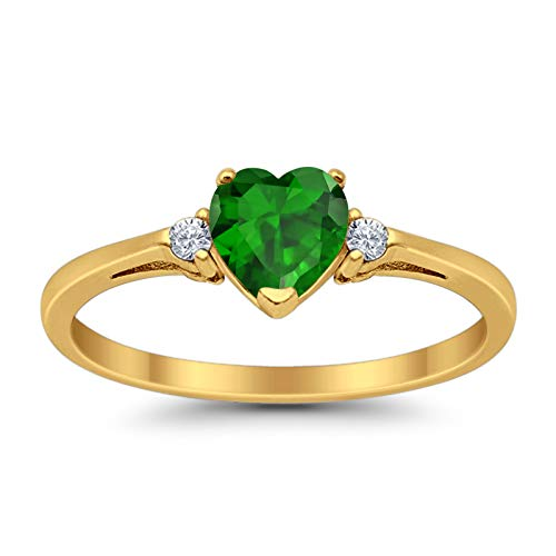 Heart Promise Ring Simulated Emerald Round Cubic Zirconia Yellow Tone Plated 925 Sterling Silver, Size-7