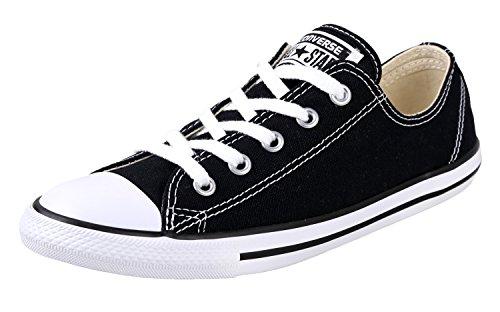 Converse Women's Dainty Canvas Low Top Sneaker, Black, 9.5 M