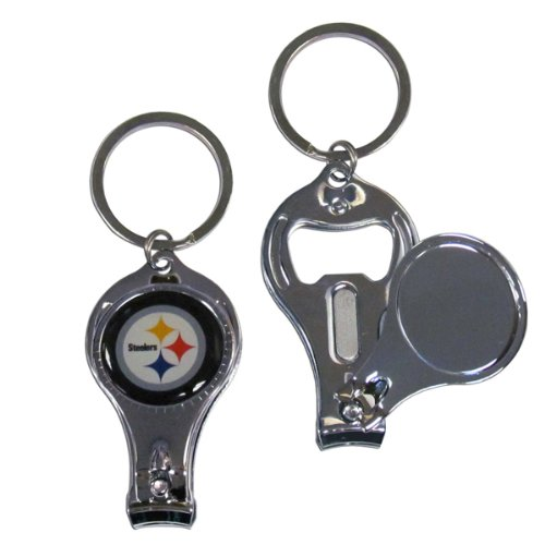 Pittsburgh Steelers NFL Bottle Opener Key Chain w/ Built in Nail Clipper -