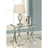 Furniture of America Sarif Square Glass Top End Table in Chrome