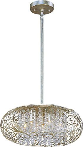 Maxim 24154BCGS Arabesque 7-Light Pendant, Golden Silver Finish, Beveled Crystal Glass, G9 Clear Xenon Xenon Bulb , 13W Max., Wet Safety Rating, 2700K Color Temp, Glass Shade Material, 900 Rated Lumens