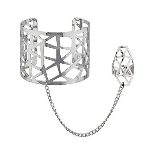 Lux Accessories Silvertone Caged Geo Hand Chain Cuff Bracelet