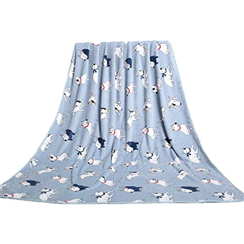 Jim Hugh Bull Terrier Printed Coral Fleece Dog Blanket Cover Warm Soft Pet Bed Mats for Small Large Cats Dogs Blue Pink 200X150cm