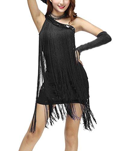 Danza Lentejuelas Color Ropa Latina Slim Mujer Vestidos Flecos Sólido Danza Vestido Negro Disfraz 5c4gqgF