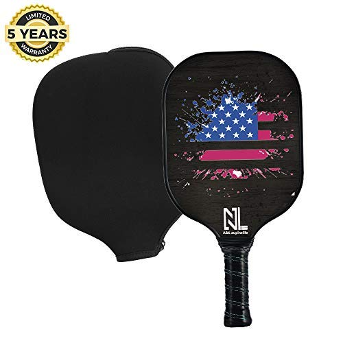 A&L Pickleball Paddle,Best Pickleball Paddle Set,Premium Lightweight Graphite Pickleball Racket Polypro Honeycomb Composite Core. Ultra Cushion Grip Low Profile Edge Guard with Cover(Black-Single)
