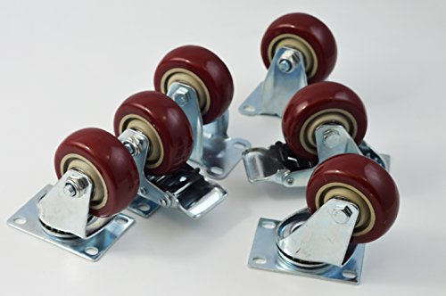 Caster Wheels 2 Swivel Casters 2 Swivel With Brake On Red Polyurethane Wheels 1200 Lbs 3 inch 4 Pack (Outdoor Furniture Clearance Perth)