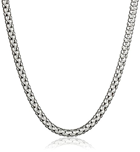 14k White Gold Italian 2.5mm Popcorn Chain Necklace, 18