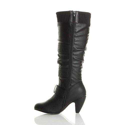 Damen Mittel Hohe Kubanischer Absatz Strickkragen Riemen Geraffte Reißverschluss Wade Kniehohe Stiefel Größe Schwarz