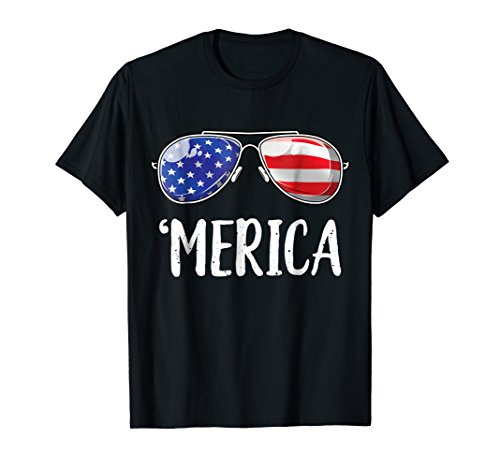 Merica Sunglasses 4th of July T shirt Kids Boys Girls Men US by Lique Patriotic