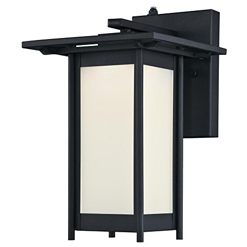 Westinghouse 6361100 Clarissa One-Light LED Dusk to Dawn Sensor, Textured Black Finish with Frosted Glass Outdoor Wall Fixture, Photocell (Dusk Lighting Dawn To Exterior)