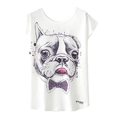 iYYVV Womens Fashion Geometric Animal Print O-Neck Short Sleeve Loose T-Shirt Blouse