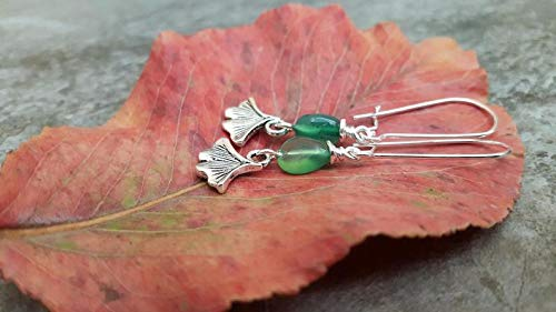 TALI Silver Ginko Leaf Green Onyx Earrings, Leaf Earrings, Natural Gemstone Nugget Earrings, Sterling Silver, for her, Nature Inspired Jewelry ()