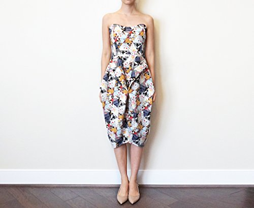 Women's Geometric Print Strapless Dress by Nooree Handmade Clothing