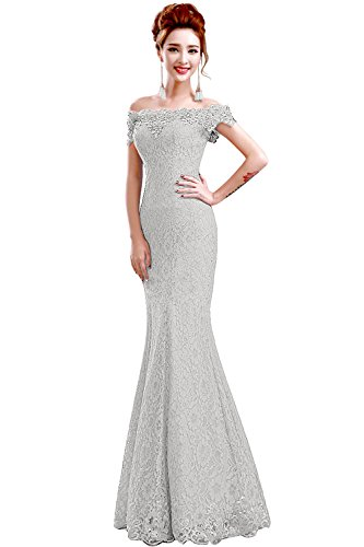 Babyonlinedress Off-Shoulder Saclloped Lace Long Mermaid Prom Dresses,Silver,10