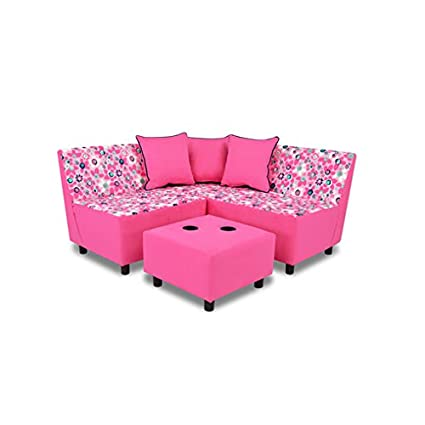 Kangaroo Trading Tween Sectional (6 Pieces) Wildflower/Navy/Passion Pink Childrens Sofas