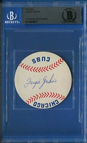 Fergie Jenkins Autographed Signed 1966 Chicago Cubs Rookie Sticker Beckett Authentic Memorabilia