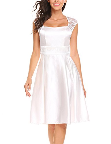 ANGVNS Women's Square Neck Ruched Waist Lace Stitching Short Satin Evening Gown Cocktail Party Dress