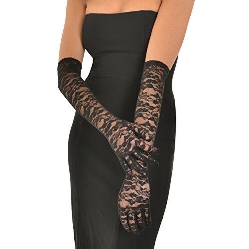 Floral Lace Gloves - Deceny CB Floral Lace Gloves for Women Long Wedding Gloves Elbow Length Gloves (Black)