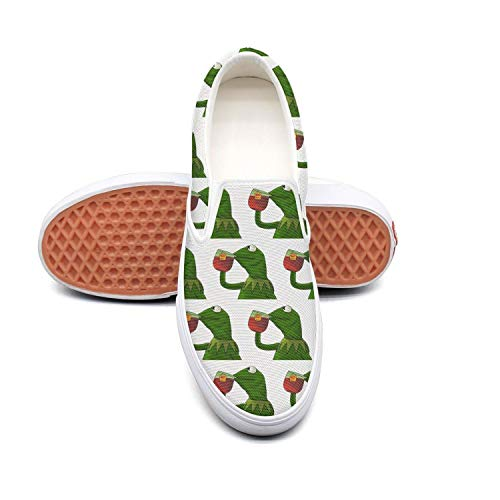 Mens funny green frog sipping tea Cute Slip on Skate Shoes