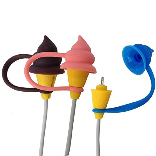 Fashion Products Poo Ice-Cream Shape 3-in-1 Silicone USB Cable Protective Charger Cover, Pack of 3