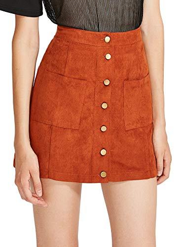 Verdusa Women's Casual Patch Pocket Button-Up A-Line Suede Short Skirt Brown XS