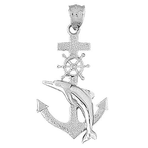 Jewels Obsession Anchor With Dolphin & Ships Wheel Pendant | Sterling Silver 925 Anchor With Dolphin & Ships Wheel Pendant - 44 mm ()