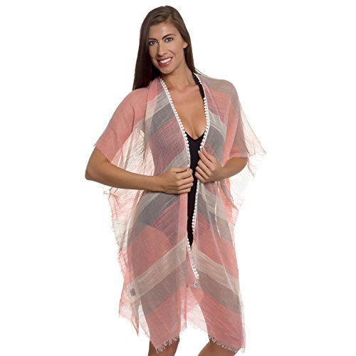 Women Swimsuit Cover Up - Striped Beachwear Oversized Bikini Kimono Tunic (Red & Brown) (Lilly Bathing Suits)