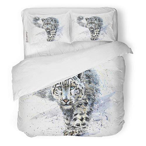 (MIGAGA Decor Duvet Cover Set Full/Queen Size Wild Snow Leopard Animals Watercolor Predator Wildlife Design Shirt Art 3 Piece Brushed Microfiber Fabric Print Bedding Set Cover)