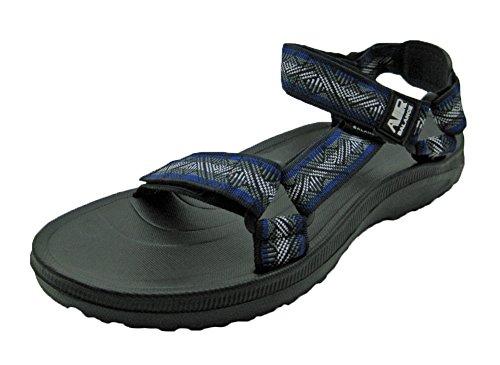 Air Men's Adjustable Straps Sandal (8 D(M) US, Navy w/Patterned)