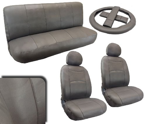 Premium Leatherette Gray Padded Luxury Car Seat Covers Full Set Synth Leather For Nissan Sentra