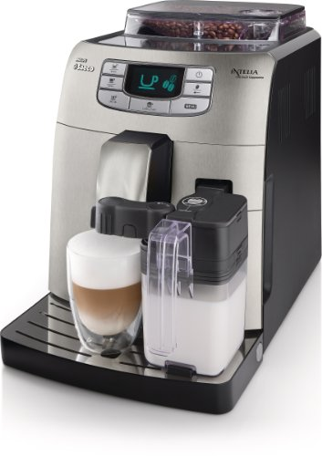 Saeco Intelia HD8753/87 - Cafetera (Independiente, Máquina espresso, 1.5 L, Molinillo integrado, 1900 W, Acero inoxidable)