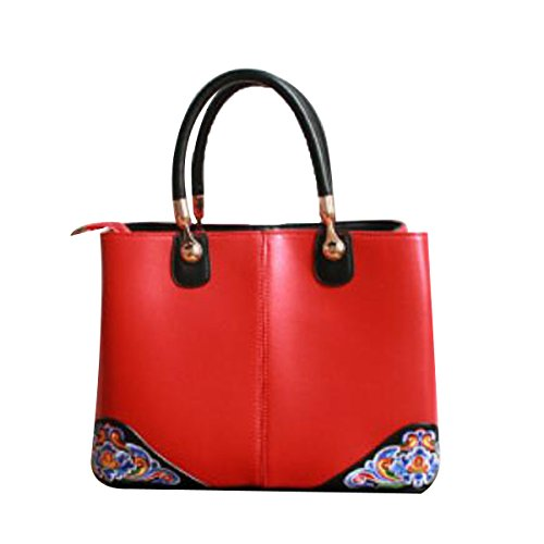 Bolso De Cuero De La Moda Del Bolso De La Mujer Bolso De Bordado De La Bolsa De Hombro Del Estilo Chino Rojo