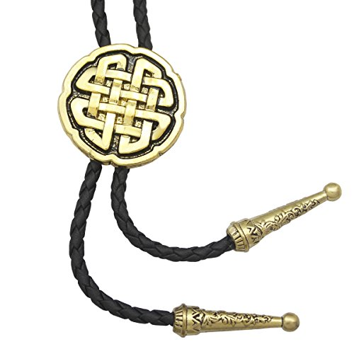 - RechicGu Vintage Gold Western Celtic Trinity Cross Knot Leather Rodeo Wedding Necktie Bola Bolo Tie