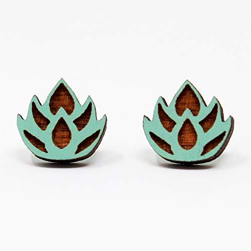 Cute Blue Pastel Lotus Flower Stud Earrings | Tiny Pastel Handmade Post Earrings | Cute Easter Gift for Her ()