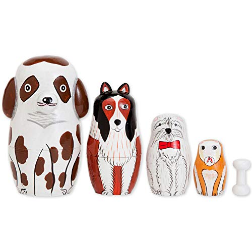 Bits and Pieces - Buddy and Friends Nesting Dogs - Hand Painted Wooden Nesting Dolls - Matryoshka - Set of 5 Dolls from 5 Tall