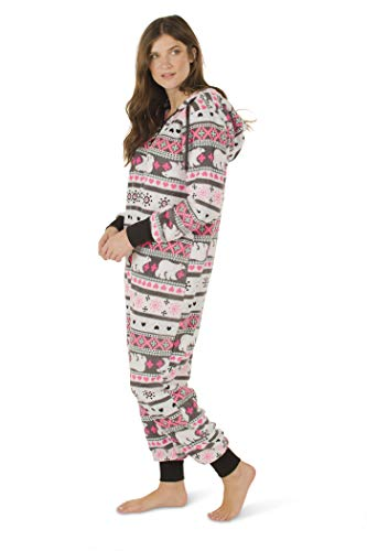 Totally Pink Women s Plush Warm Cozy Character Adult Onesies for Women One-Piece  Novelty Pajamas 3953d465a