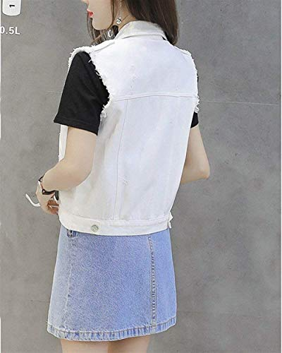 Con Gilet Mode Tasche Jeans Elegante Strappato Giacche Button Autunno Donna Outerwear Di Giacca Primaverile Cappotto Bianca Confortevole Bolawoo Casual Marca Smanicato dZ0wdx