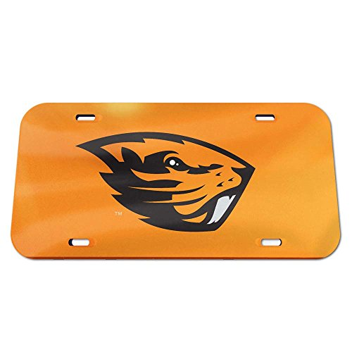 Oregon State Logo Plate (NCAA Oregon State Beavers Crystal Mirror Logo License Plate, Team Color, One Size)