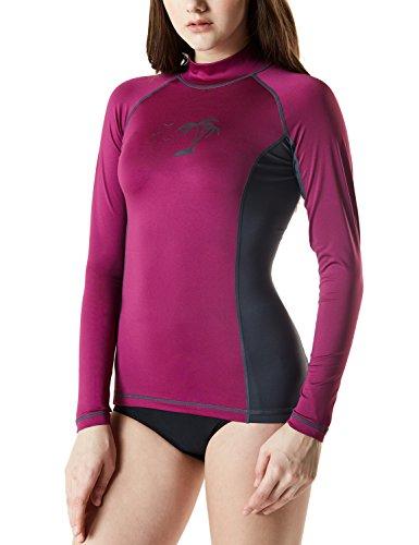 Tesla TM-FSR23-PMH_Medium Women's UPF 50+ Slim-Fit Long Sleeve Athletic Rashguard FSR23