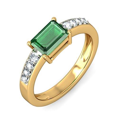 Or jaune 18K, 0,14carat Diamant Blanc (IJ | SI) Émeraude et diamant Bague