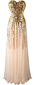 Angel-fashions Women's Sequins Sweetheart Tulle Lace up Wedding Dress
