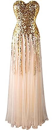 Angel-fashions Women's Gold Sequin Sweetheart Tulle Lace up Floor Length Dress Small