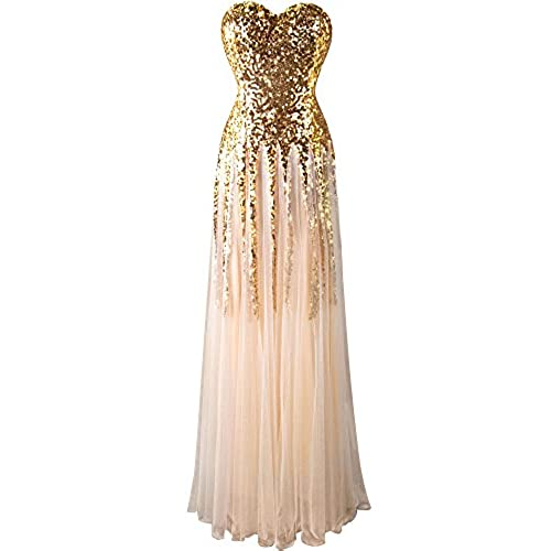 Angel-fashions Womens Gold Sequin Sweetheart Tulle Lace up Floor Length Dress Medium,Gold
