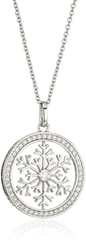 Platinum-Plated Swarovski Zirconia Snowflake in Round White Pendant Necklace, 16