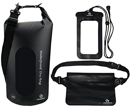 Freegrace Waterproof Dry Bags Set of 3 Dry Bag with 2 Zip Lock Seals & Detachable Shoulder Strap, Waist Pouch & Phone Case - Can Be Submerged Into Water - for Swimming (Black(Window), 10L) ()