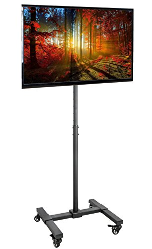 VIVO Mobile TV Display Floor Stand Height Adjustable Mount w/ Wheels for Flat Panel LED LCD Plasma Screen 13' to 42' (STAND-TV07W)