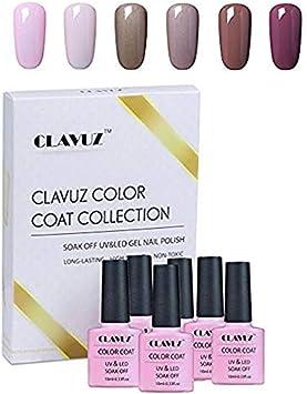 Esmalte Semipermanente de Uñas en Gel UV LED Esmalte de Uñas 6pcs Kit Uñas de Gel Manicura Soak off 10ml en Caja de Regalo de Clavuz - 011: Amazon.es: Belleza