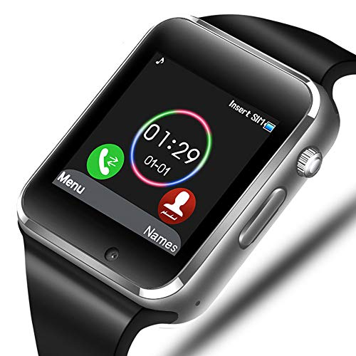 Smart Watch - Aeifond Bluetooth Smartwatch Touch Screen Wrist Watch Sports Fitness Tracker with Camera SIM SD Card Slot Pedometer Compatible iPhone iOS Samsung LG Android Men Women Kids (Silver)